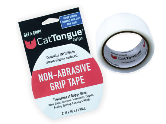 Roll of CatTongue Non-Abrasive Grip Tape next to packaging